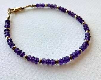 Amethyst bracelet, beaded gemstone bracelet, gemstone friendship bracelet, stacking bracelet, boho chic beaded bracelet, boho jewelry