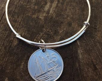 Cayman Islands 25 cents expandable style wire bangle bracelet