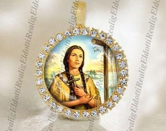 St. Kateri Tekakwitha Catholic Christian Gold Tone Medal Pendant Patron Saint Religious Jewelry