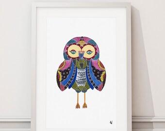 Upstate Owl, Watercolor Art Print