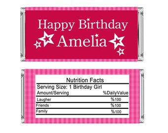 American Girl - Printable Candy Wrappers, American Girl Candy Wrappers - American Girl Birthday Hershey Bar Candy Wrappers - Birthday Gift