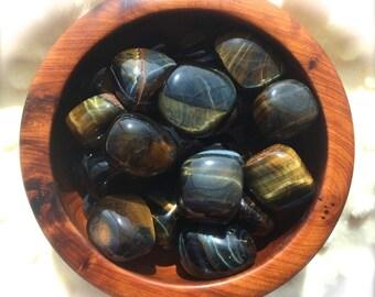 Tumbled Blue Tigers Eye, Blue Hawk Eye Stone, Chakra, Reiki, Crystal Grid, Pagan Altar, Metaphysical, Magick, Spells, Meditation, Zen!