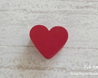 50 Hearts die cuts RED 2.4 cm