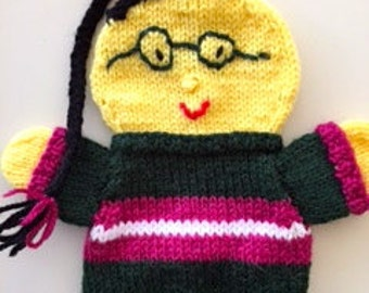 Custom puppets, china puppet, Handknitted Chinese Puppet Lee with long black hair.