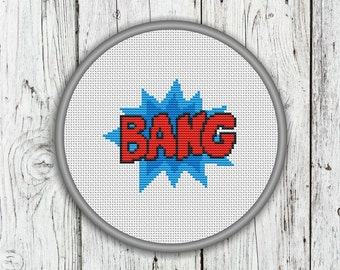 Comic Book, Superhero Wording, Bang Counted Cross Stitch Pattern - PDF, Instant Download