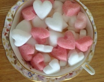 100 Heart Shaped Sugar Cubes for Weddings, Christenings, Anniversaries and all Special occasions