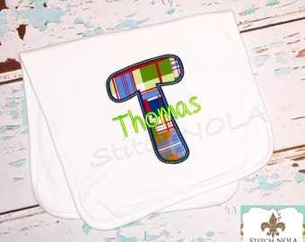 Bib OR burp cloth - Madras Plaid Letter Applique