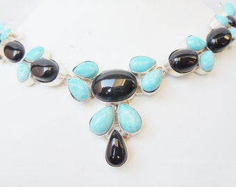 92.5 Silver plated Larimaar and Black onyx Natural stone necklace