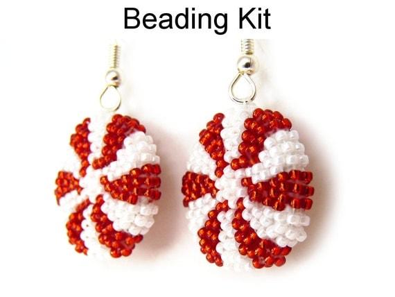 items similar to peppermint earrings beading kit