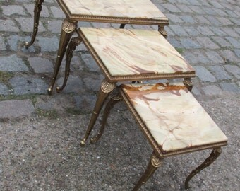 Gorgeous Set Brass green  Onyx Nesting Tables
