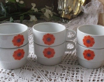 Vintage 6 Cups Thomas Germany Orange Design Flower Retro