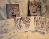 Set of 10 Original Art Print Snow Leopard Greeting Cards