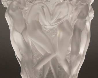 Lalique Bacchantes Art Glass Vase