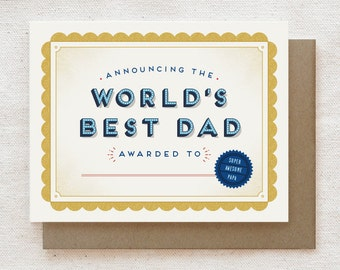 Funny Father's Day Card, Dad Birthday Card - World's Best Dad Award