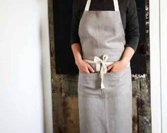 Handmade 100% French linen apron. Bib style, cotton straps, double pocket.