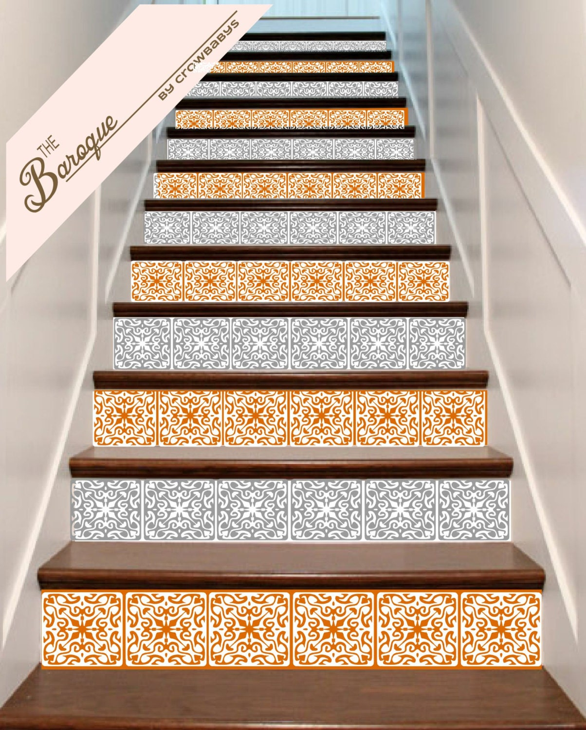 ornate vinyl tile decals for stair risers order as by. Black Bedroom Furniture Sets. Home Design Ideas