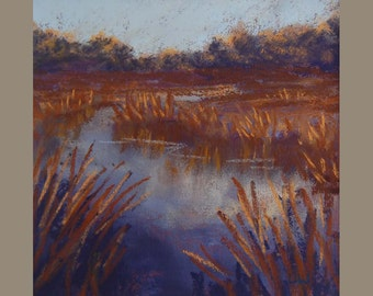 Original pastel painting. Wetlands painting. Unframed small  painting. Marshland painting. Nature painting.