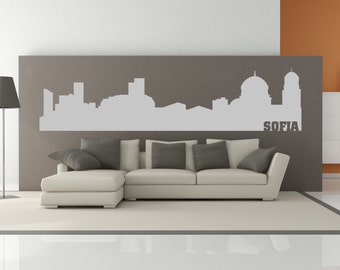 Sofia Bulgaria City Skyline Interior Wall Decal Sticker WITH Lettering