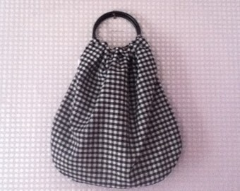 Black and white gingham and check black handled bag/handbag
