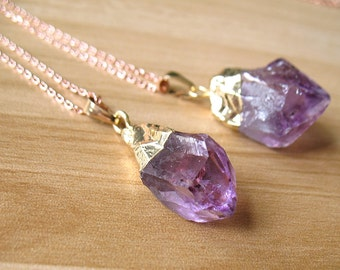 Natural Amethyst Necklace Purple Amethyst Crystal Point Charms Pendant Necklace Amethyst Drusy Druzy Pendant Healing Crystals