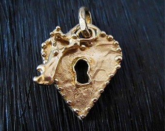 Gold Bronze Dotted Artisan Heart Lock and Key Pendant (one)