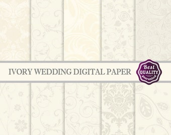 Wedding digital paper ivory beige craft paper pack Commercial use Card making Scrapbook paper * Printable, Instant Download