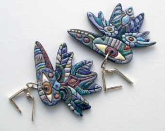 """Earrings made of ceramics """"Blue Crows"""""""