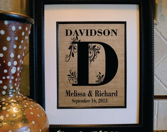 Custom Monogram print - 2nd Anniversary Gift on Cotton- Name and Est. Date, Gift for Anniversaries, Weddings, Engagements, Showers (in116a)