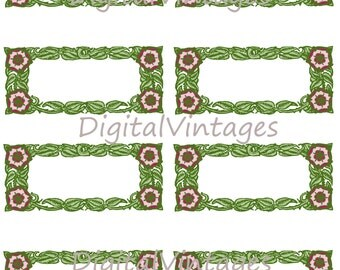 Digital Image Printable Floral Art Deco Label Sheet for Weddings Gift Tag Download Antique Clip Art Transfers Prints HQ JPG 300dpi