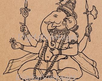 Ganesh Hinu Hinduism Vintage Illustration Digital Image Download Printable Clip Art Transfers Prints HQ 300dpi jpg png svg