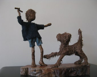 Fetch! boy with dog sculpture. Made to order