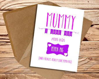 Mummy Birthday card Personalised I love you more than Mum Mom Mam Mummy Mommy Mother's day