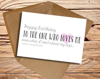 Funny Birthday Boyfriend Husband Girlfriend Wife Card