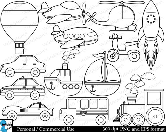 Outline All Transportation Set Clipart Digital Clip Art
