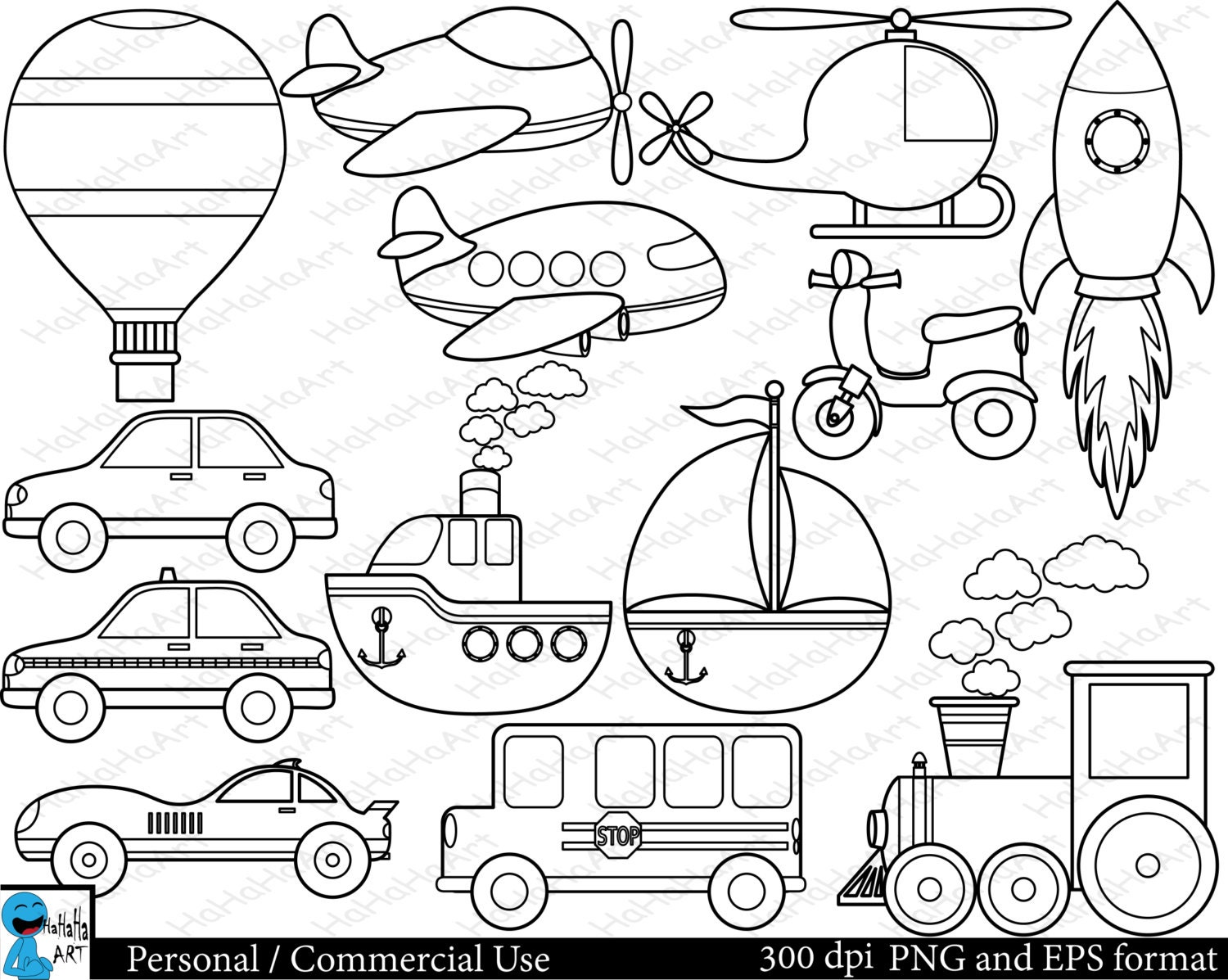 Outline All Transportation Set Clipart Digital Clip Art