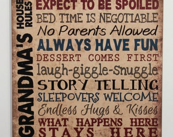 Grandma's House Rules Vintage Primitive Wood Sign Home Wall Decor grandparent gift