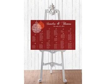 Wedding Seating Chart -  RUSH SERVICE - Winter  Christmas Wedding Seating Chart Reception Poster - Digital Printable File HBC119