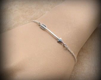 Arrow bracelet, Sterling silver arrow bracelet, archery bracelet