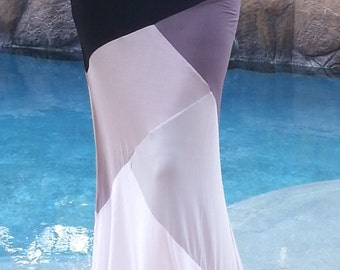 SALE-Maya Antonia-Shades of Grey Color-Block Maxi Skirt, Extra Long-Floor Length