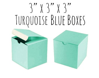 """Robin's Egg Blue Boxes 3 x 3 x 3"""" Square, 25 To 50 Pack of Wedding Favor Boxes, Gift, Aqua Cupcake Box/Candy Box-Smooth Ivory Cardboard Box"""