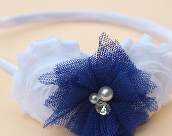 Royal blue headbands,  Royal blue flower girl headband, white and royal blue girls headband, blue toddler headband royal blue accessory