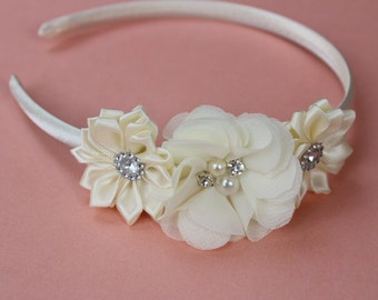 Ivory headband plastic cream headband satin headband flower girl headband girls headband wedding  headband chiffon headband photo prop