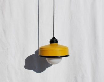 Hanging / pendant / ceiling lamp , mustard color ... eco friendly & handmade : recycled from  coffee can !