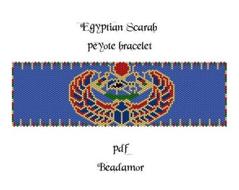 Peyote Pattern for bracelet: Egyptian Scarab - INSTANT DOWNLOAD pdf