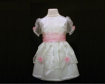 Rose Trimmed Princess Flower Girl, Party Dress
