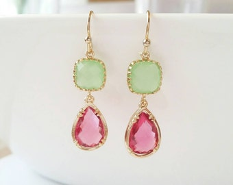Pink earrings, pink and green jewelry, gold earrings, gold dangle earrings, pink drop earrings, green earrings, gold drop earrings