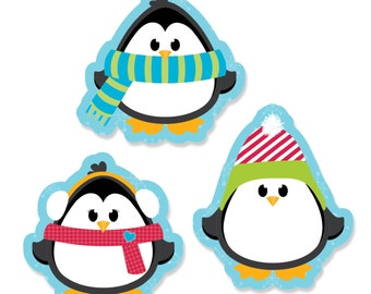 24 pc. Holly Jolly Penguin Shaped Paper Cut Outs - Winter Party Decoration Kit
