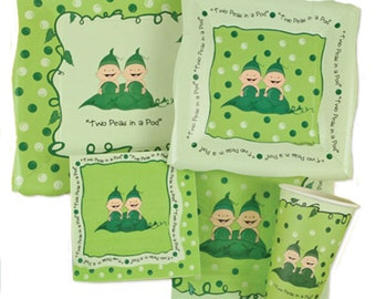 Two Peas in a Pod Tableware Kit - Twins Baby Shower Party Plates and Napkins Party Kit - 32 piece place setting