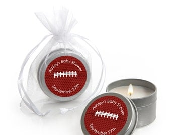 Football Candle Tin Baby Shower or Birthday Party Favors - 12 Count