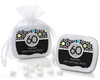 60th Birthday Mint Tin Party Favors - Birthday Party Supplies - 12 Count